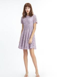 凡恩19紫色蕾丝裙