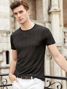 迪拉格男装19新款黑色T恤