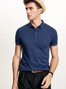 迪拉格男装19新款蓝色Polo衫
