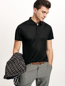 迪拉格19夏新款黑色polo衫