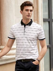 迪拉格男装19白色条纹Polo衫