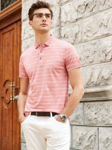 迪拉格19新款粉色条纹Polo衫
