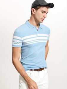 迪拉格19浅蓝色Polo衫