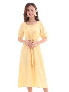 QIMYIDVR芊伊朵新款純色連衣裙
