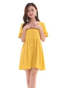 QIMYIDVR芊伊朵新款橙黃色連衣裙
