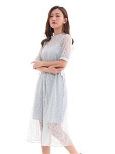 QIMYIDVR芊伊朵新款蕾絲透視連衣裙