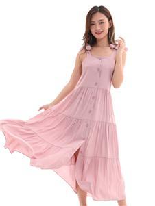 QIMYIDVR芊伊朵新款藕粉色连衣裙