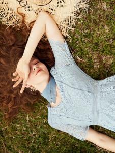 奥伦提女装19蓝色蕾丝裙