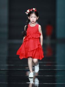 设计师NNE&KIKI女童红色时尚裙子