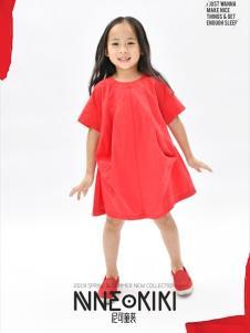 设计师NNE&KIKI女童红色韩版裙子