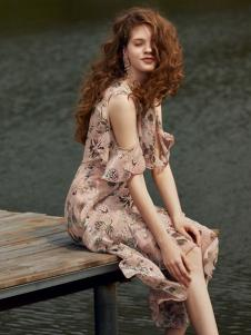 奥伦提女装19露肩性感印花裙