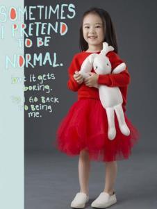 设计师NNE&KIKI女童红色套装裙