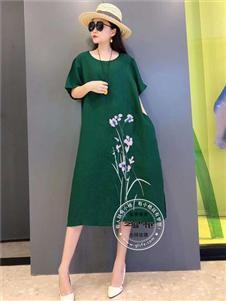 芝麻e柜女装夏款刺绣连衣裙