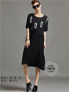 芝麻e柜女装夏款黑色休闲裙