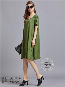芝麻e柜女装夏款绿色宽松连衣裙