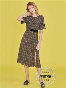 芝麻e柜女装夏款格子连衣裙