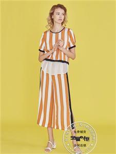 芝麻e柜女装夏款条纹连衣裙