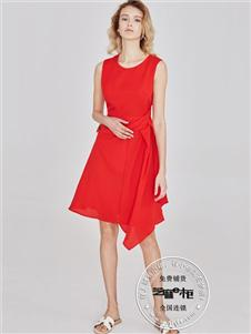 芝麻e柜女裝夏款紅色連衣裙