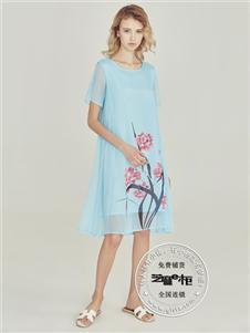 芝麻e柜女裝夏款淺藍色雪紡裙