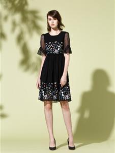 司歌女装司歌黑色连衣裙