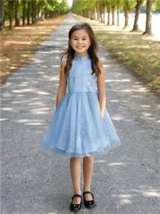 贝的屋新款蓝色连衣裙