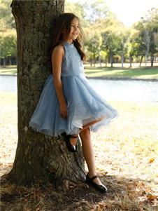 PETIT MIEUX贝的屋蓝色韩版裙子