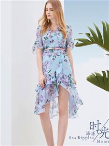 迪絲愛爾2019夏裝藍色印花裙
