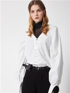 DTWO原创女装19新款白色衬衫