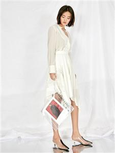 雅默女装2019白色套装裙