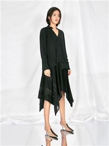 雅默女装2019黑色衬衫裙