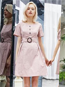 红雨鸶夏季新款收腰连衣裙