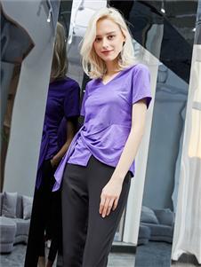 红雨鸶夏季新款紫色T恤