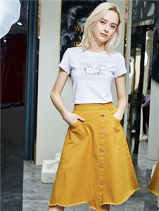 紅雨鷥夏季新款姜黃素半裙
