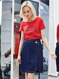 紅雨鷥夏季新款牛仔半裙