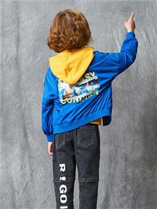 红蜻蜓童装新款蓝色外套