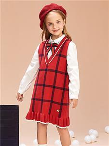 紅蜻蜓童裝新款格子連衣裙