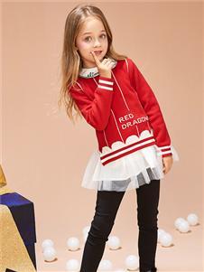 紅蜻蜓童裝新款紅色衛衣