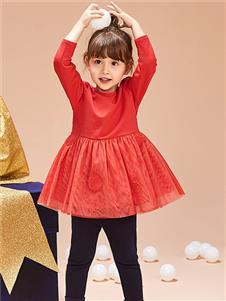 紅蜻蜓童裝新款紅色連衣裙