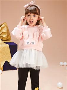 红蜻蜓童装新款粉色卫衣