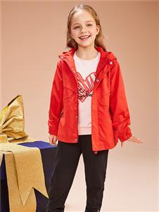 红蜻蜓童装新款红色外套