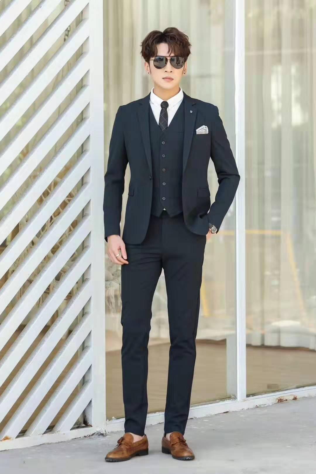 韓版修身男士西裝套裝 卡邦易男士西服男裝批發