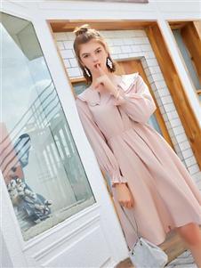 贝珞茵女装19粉色甜美连衣裙