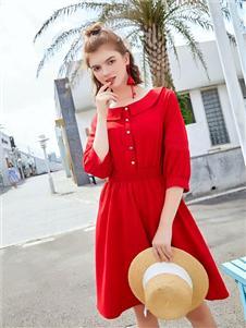 贝珞茵女装2019红色棉麻连衣裙