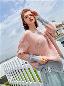贝珞茵女装2019新款粉色毛衣