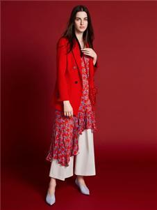 2019芮玛女装红色气质外套