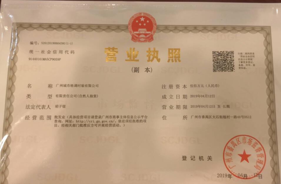 广州城市格调时装有限公司企业档案