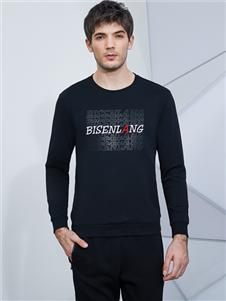 比森战狼新款黑色字母印花T恤