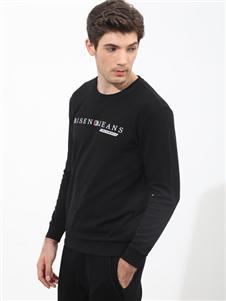 比森战狼新款黑色字母印花卫衣