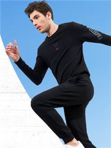 比森战狼新款黑色休闲套装