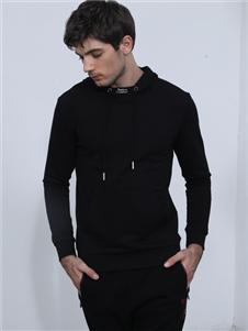 比森战狼男装新款黑色卫衣
